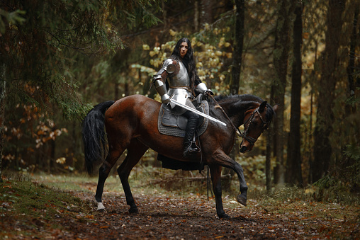 A beautiful warrior girl with a sword wearing chainmail and armor riding a horse in a mysterious forest.