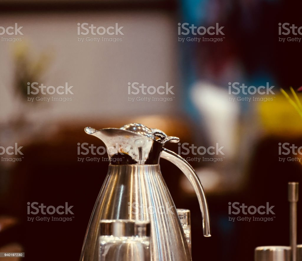 Beautiful water jug metallic object stock photo royalty-free stock photo