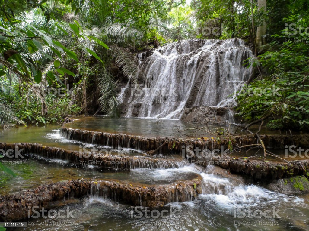 Beautiful waterfal in the forest in Bonito - Brazil stock photo