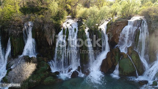 Beautiful waterfall aerial view