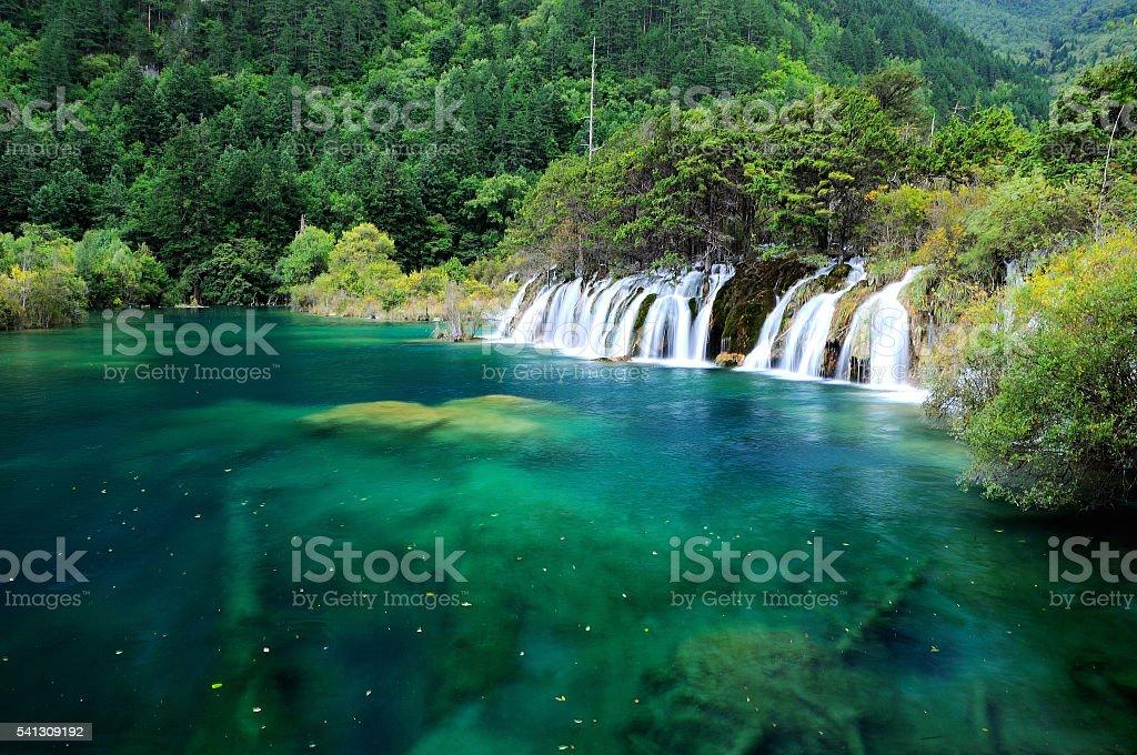 Beautiful waterfall at lake in Jiuzhaigou natural reserve, China stock photo