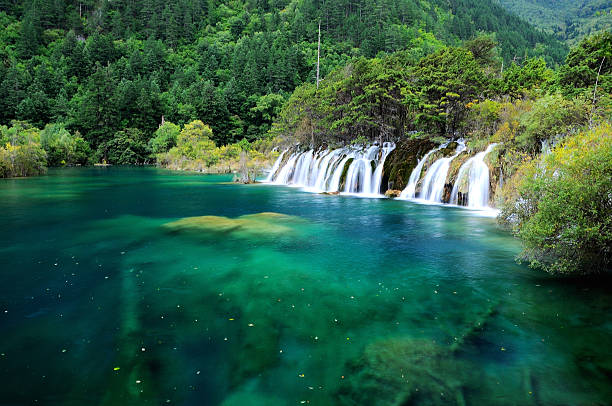 beautiful waterfall at lake in jiuzhaigou natural reserve, china - schönste reiseziele der welt stock-fotos und bilder