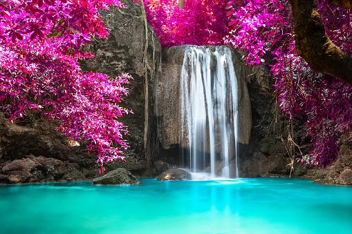 Beautiful waterfall in forest at Erawan National Park in Thailand. A beautiful waterfall on the River Kwai. Kanchanaburi, Thailand