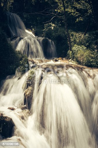 Beautiful waterfall in green forest