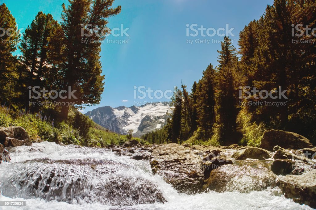 Beautiful waterfall in Siberia Altai royalty-free stock photo