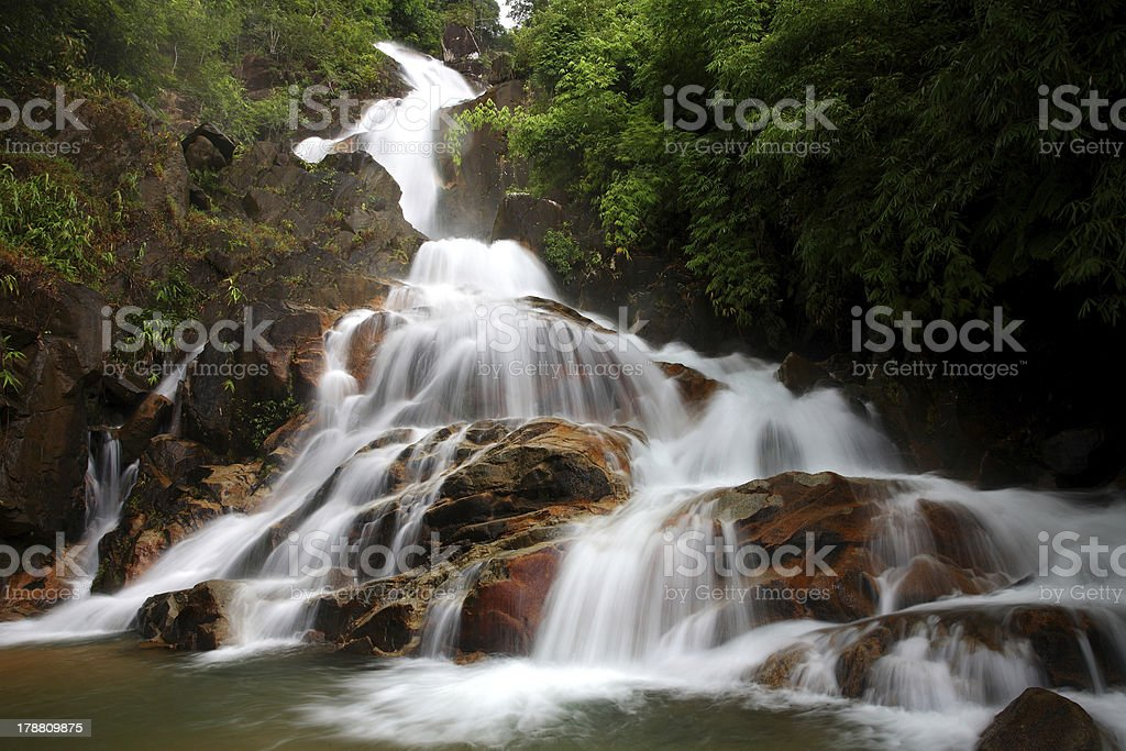 Beautiful  Waterfall in the rainforest at Thailand royalty-free stock photo