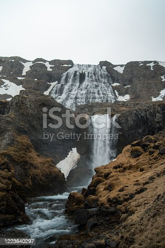 Beautiful waterfall in west fjords of Iceland in spring