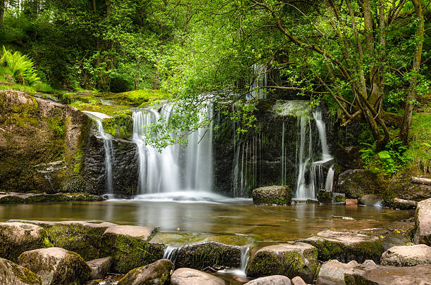 Beautiful Waterfall Waterfall in Brecon Beacons National Park, Wales, UK brecon beacons stock pictures, royalty-free photos & images
