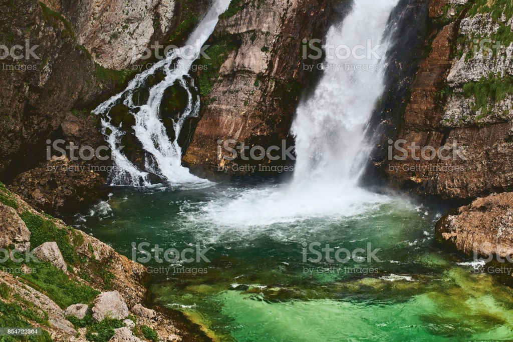 Beautiful waterfall Savica in Slovenia stock photo