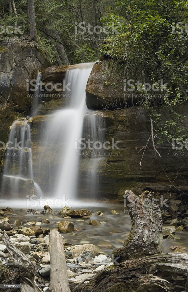 Beautiful Waterfall surounded by forest British Columbia Canada stock photo