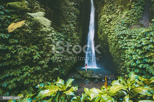 Beautiful waterfall with tropical plants . and woman traveller in Bali, Indonesia