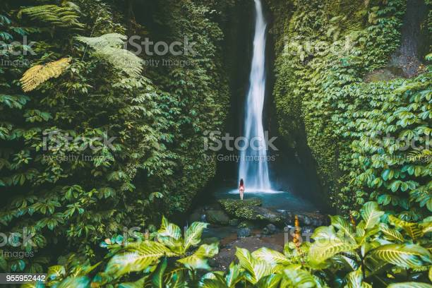 Photo of Beautiful waterfall with tropical plants . and woman traveller in Bali, Indonesia