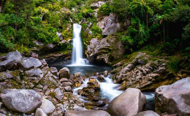 Beautiful waterfalls in the green nature, Wainui Falls, Abel Tasman, New Zealand. stock photo