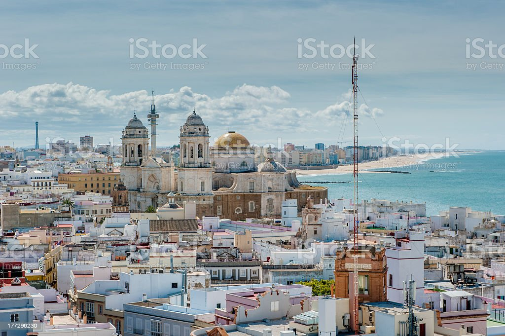 Beautiful waterfront skyline in Cadiz, Spain stock photo