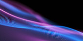 istock Beautiful Wave Lines Background - Blue, Purple, Abstract, Copy Space 1277127522