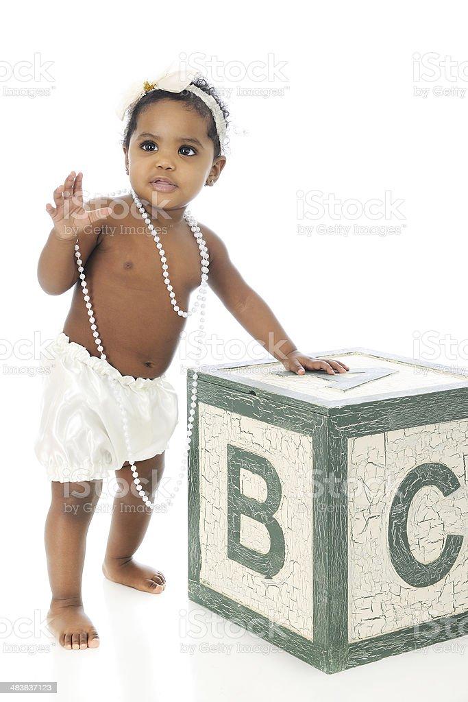 Beautiful Waving Baby stock photo