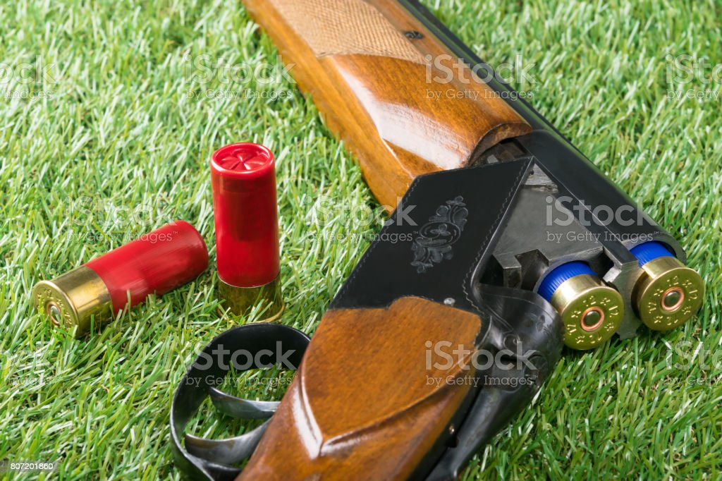 Beautiful weapon lies on green grass with cartridges stock photo