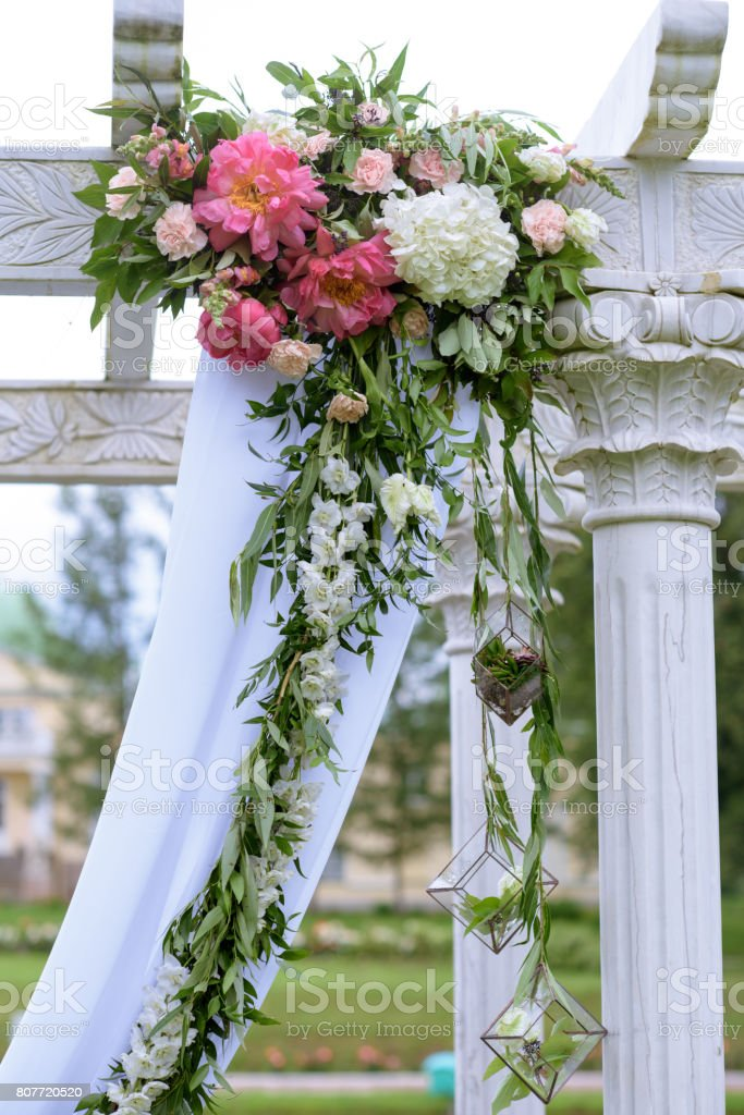 Beautiful Wedding Arch For Marriage Decorated With Lace Fabric And