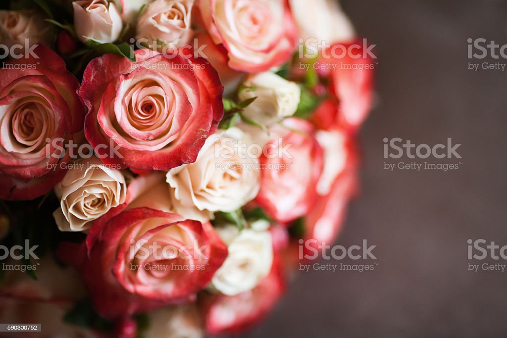 Beautiful wedding bouquet of pink and white roses, selective focus Стоковые фото Стоковая фотография