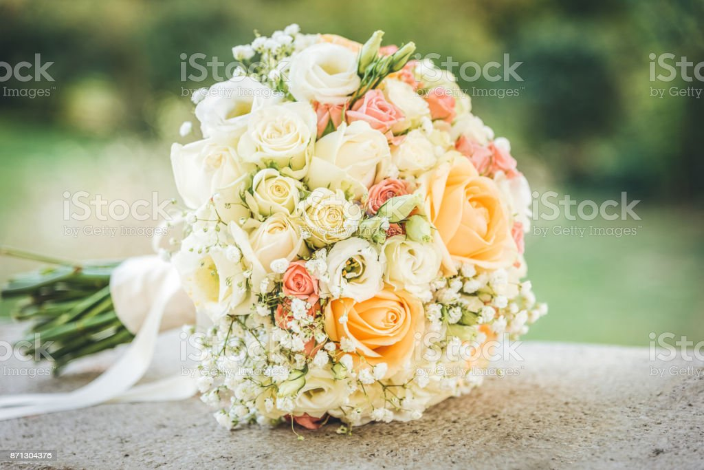 Beautiful wedding bouquet. Outdoor photo stock photo