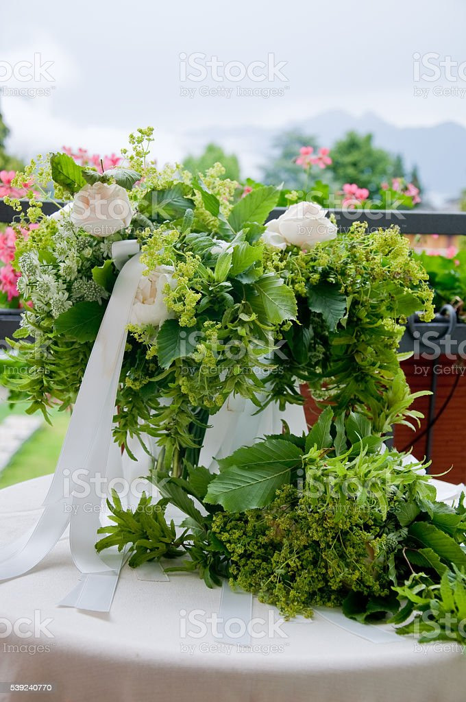 beautiful wedding bouquet with white flowers and roses royalty-free stock photo