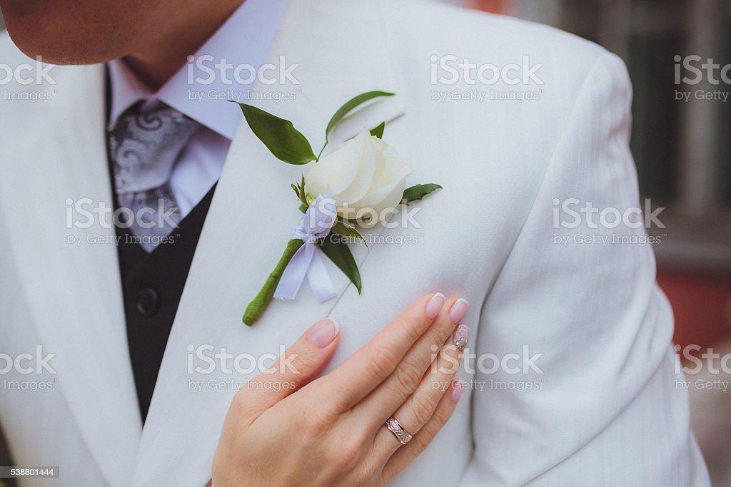 Beautiful wedding boutonniere stock photo