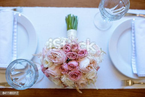 istock Beautiful wedding colorful bouquet for bride 841185312