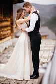 Beautiful wedding couple outdoors