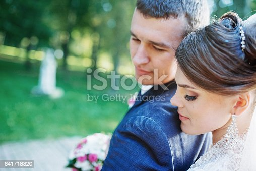 674214372istockphoto Beautiful wedding couple posing in park 641718320