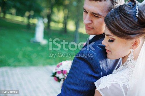 674214372istockphoto Beautiful wedding couple posing in park 641718336