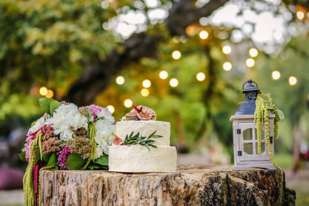 schöne hochzeitsdekoration mit kuchen, blumenstrauß und eine laterne auf einem hintergrund von natur - sommertorten stock-fotos und bilder