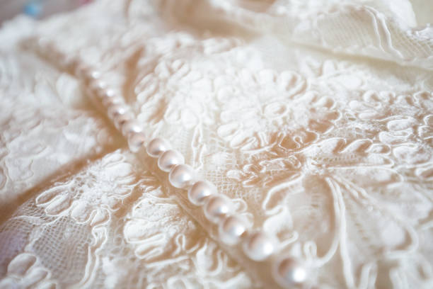 Beautiful wedding dress detail stock photo