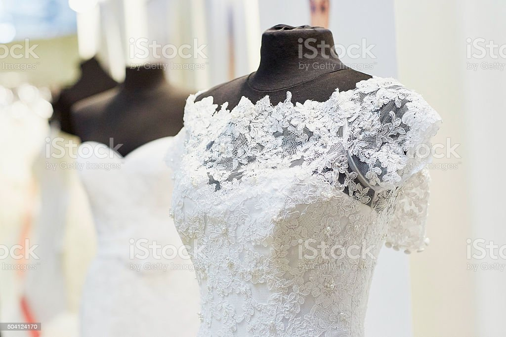Beautiful Wedding Dresses On Mannequins Stock Photo More Pictures