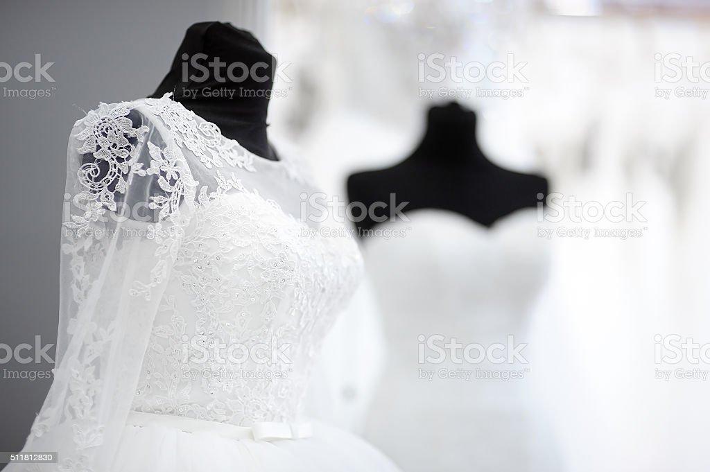 Beautiful wedding dresses stock photo