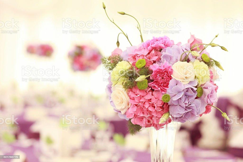 Beautiful wedding flower decoration table arrangement stock photo