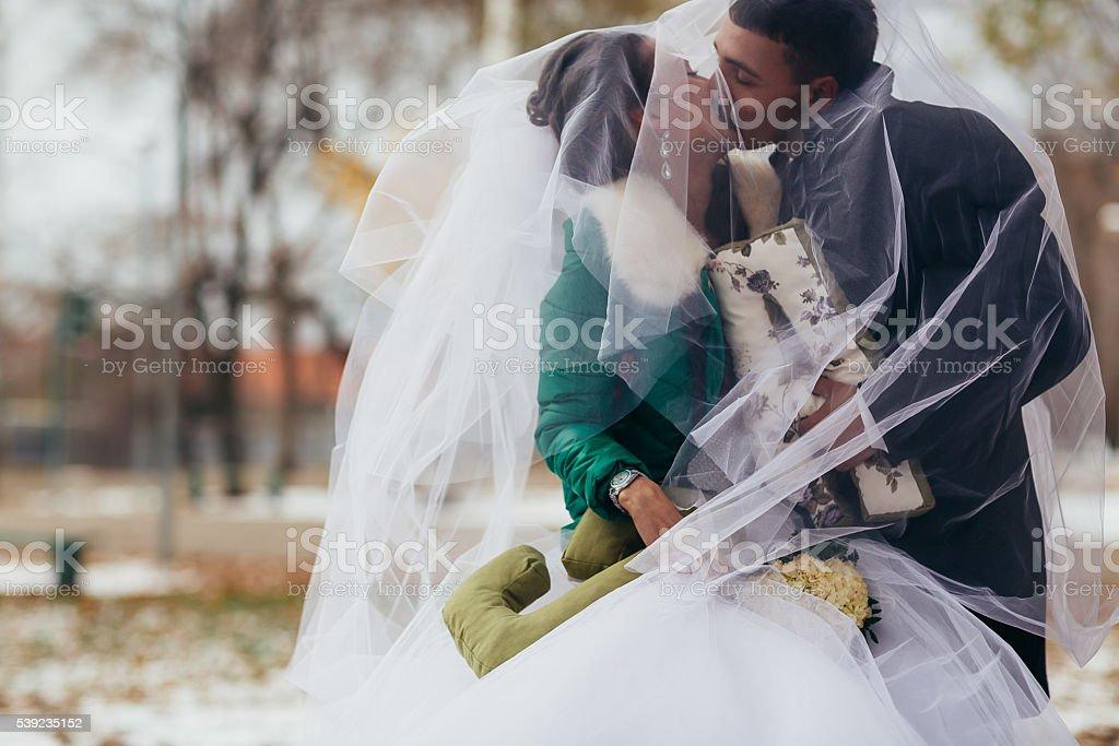 Hermosa boda en otoño parque foto de stock libre de derechos