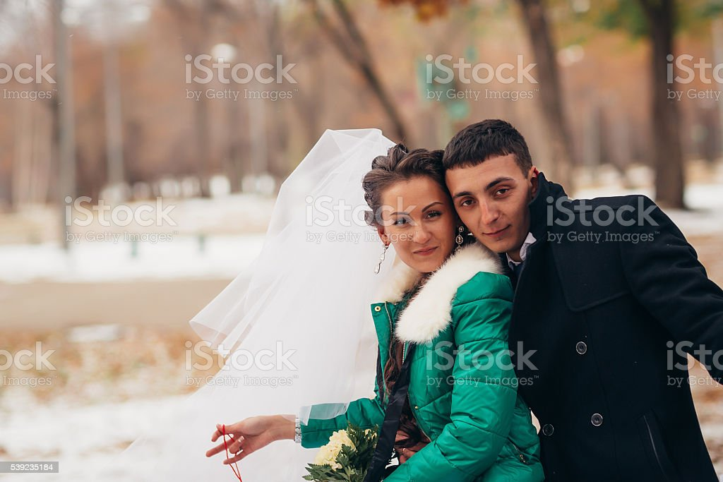 Beautiful wedding in autumn park royalty-free stock photo