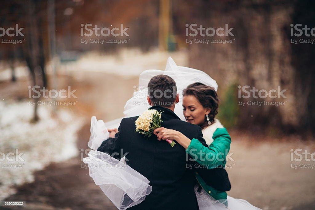 Beautiful wedding in autumn park royalty-free stock photo