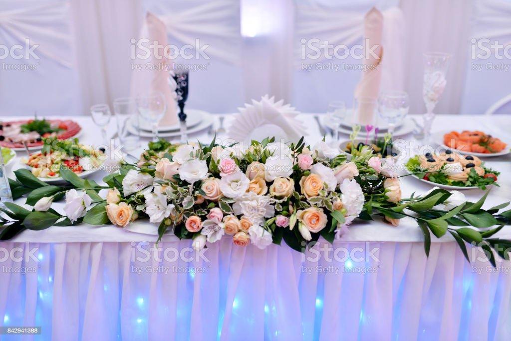 Beautiful wedding restaurant for marriage stock photo
