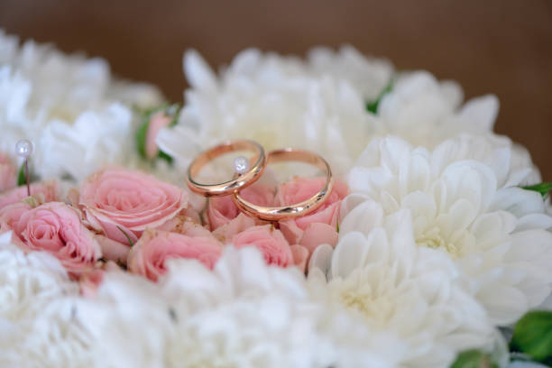 Beautiful wedding rings for bride and groom stock photo