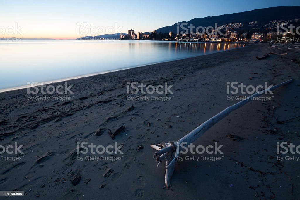 Beautiful West Vancouver beach front in the evening stock photo