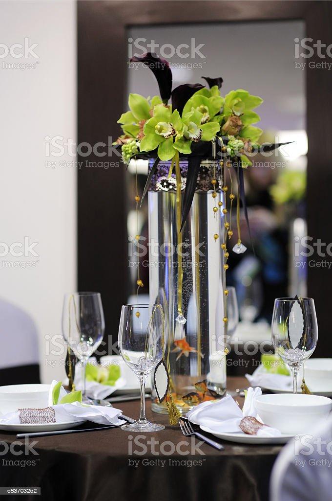 Beautiful white and chocolate festive table stock photo