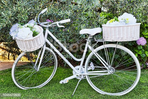 Beautiful white bicycle with a classic and vintage design