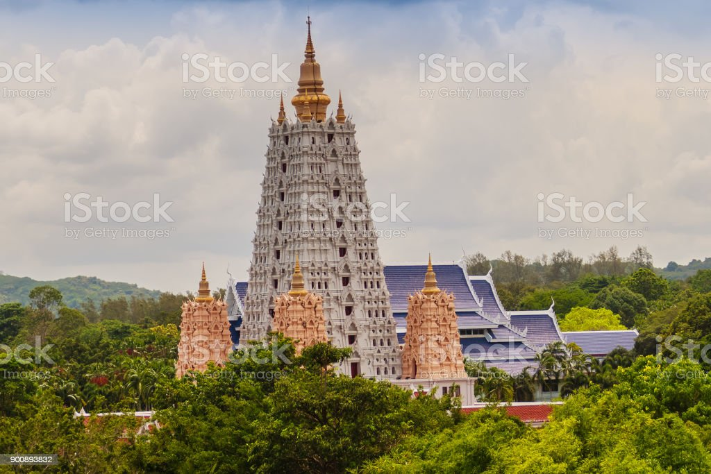 Beautiful White Buddhagaya Pagoda in Wat Yannasang Wararam Buddhist Temple at Pattaya city, Chonburi province, Thailand stock photo