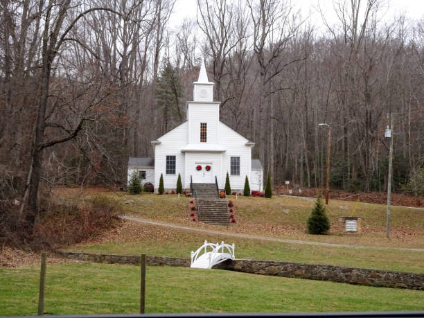 Beautiful white church out in the country stock photo