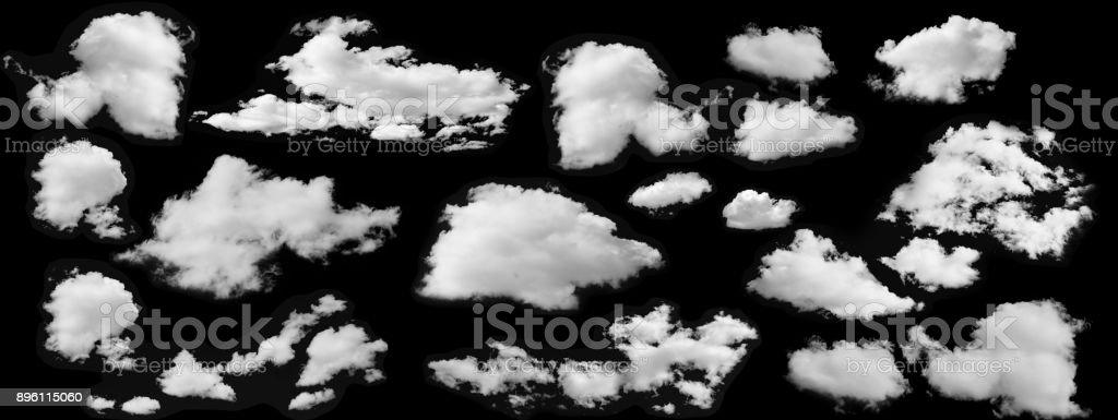 黒い背景に分離した白い雲が美しいコレクション ストックフォト