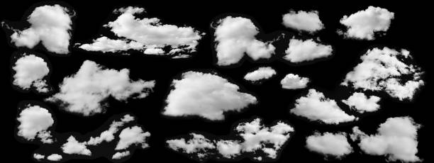 beautiful  white clouds collection isolated on black background - clouds imagens e fotografias de stock