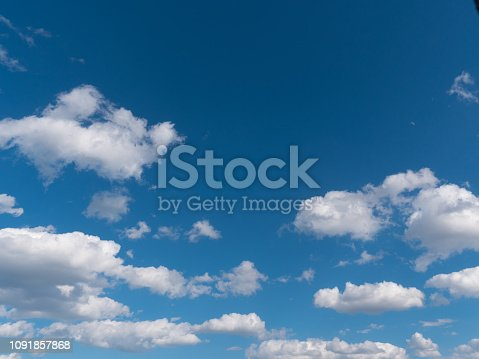 Beautiful white clouds in the blue sky.