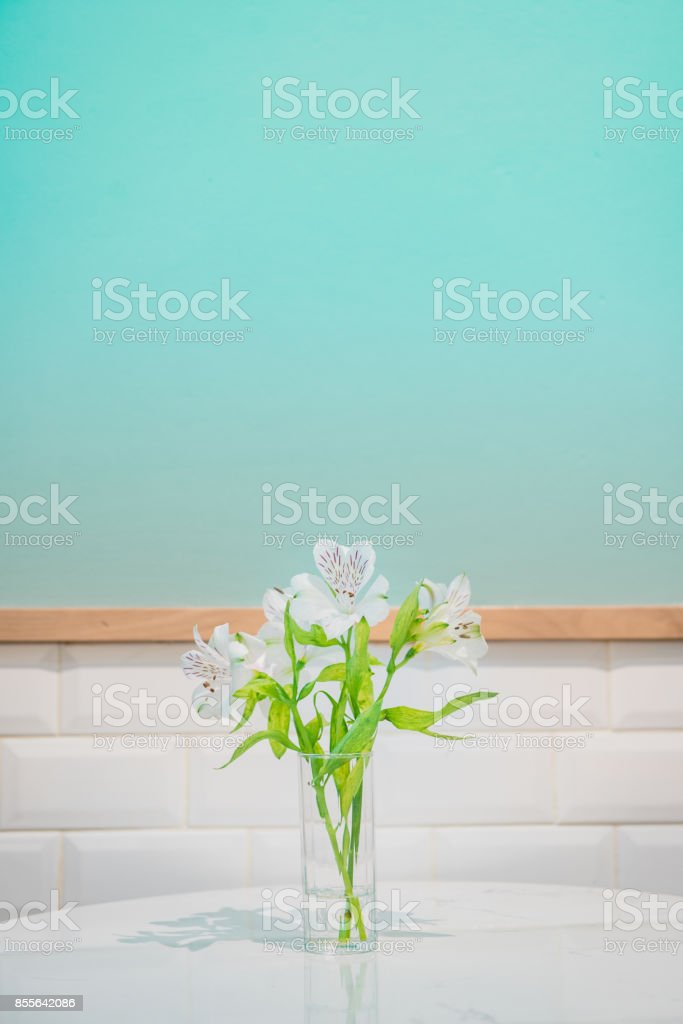 Beautiful white flower in glass vase on turquoise background and white crick tiles wall. Festive greeting card stock photo