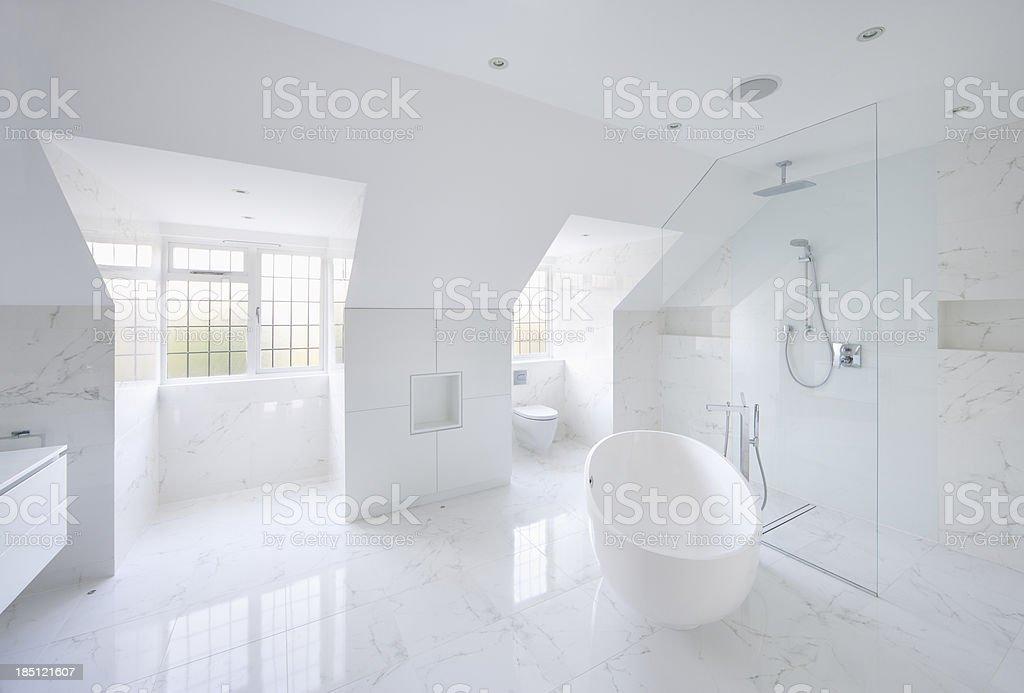 beautiful white marble bathroom stock photo